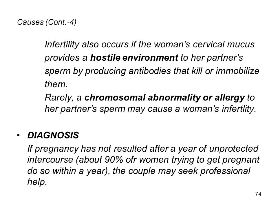 Infertility also occurs if the woman's cervical mucus