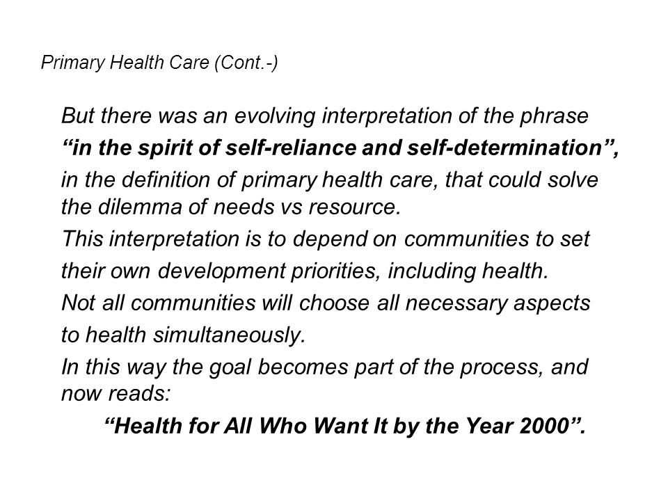 Primary Health Care (Cont.-)