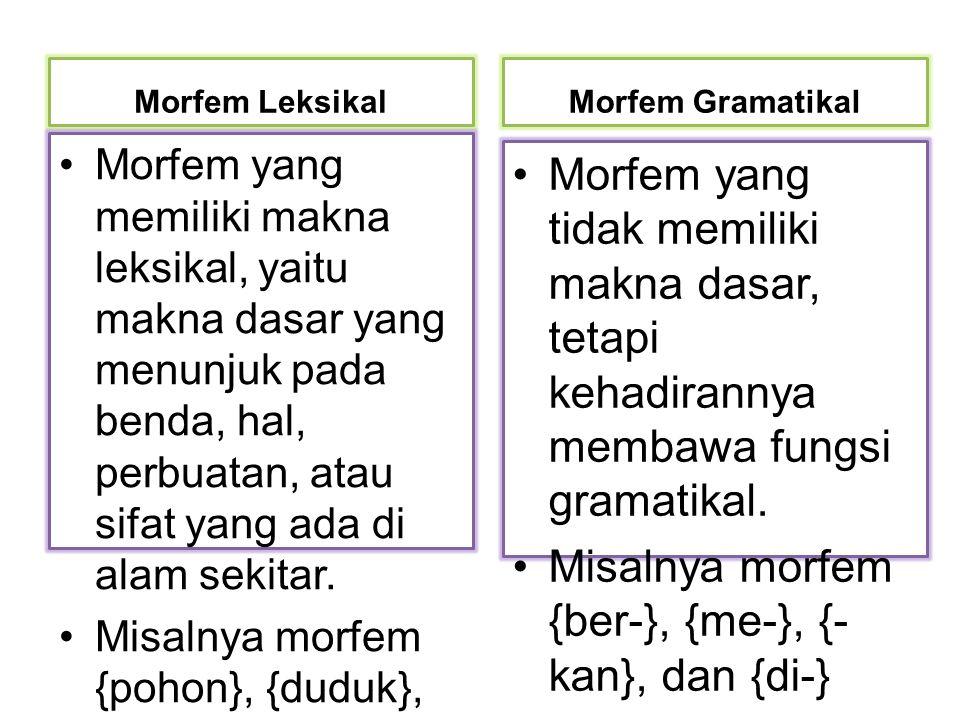Misalnya morfem {ber-}, {me-}, {-kan}, dan {di-}