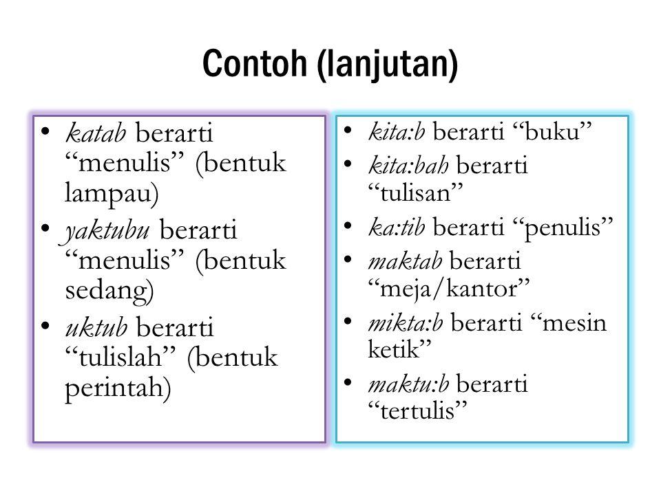 Contoh (lanjutan) katab berarti menulis (bentuk lampau)