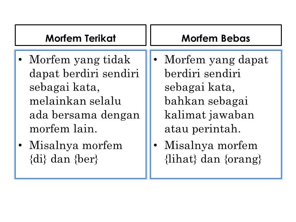 Misalnya morfem {di} dan {ber}