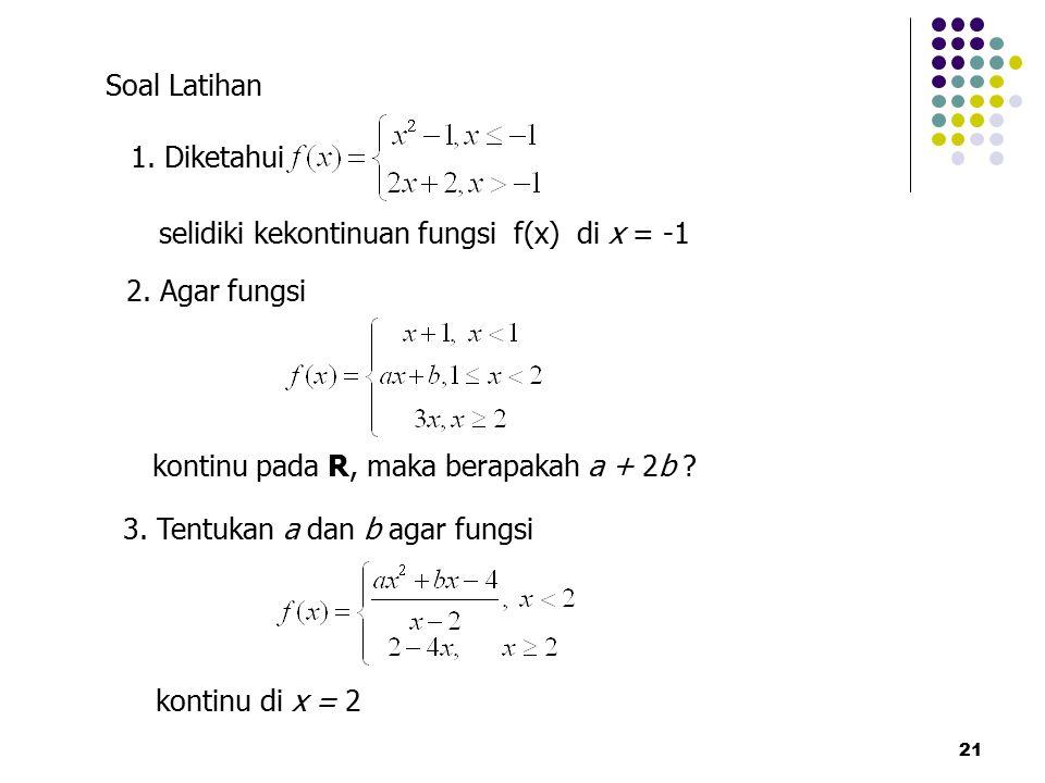 selidiki kekontinuan fungsi f(x) di x = -1