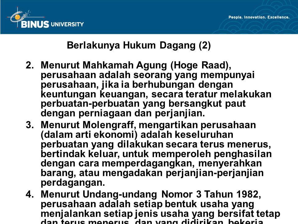 Berlakunya Hukum Dagang (2)