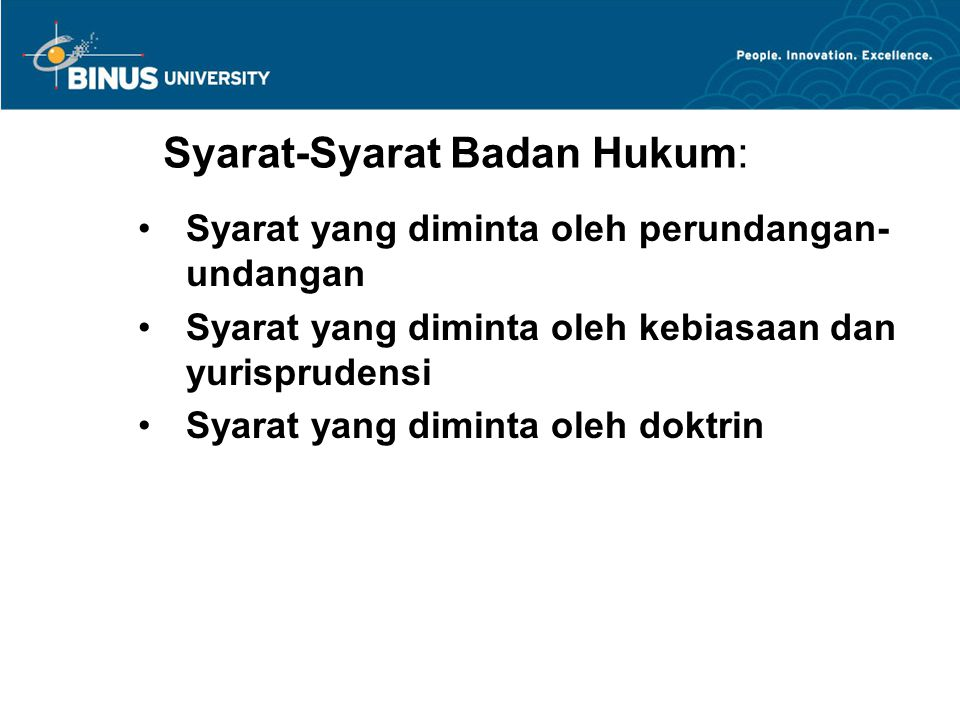 Syarat-Syarat Badan Hukum: