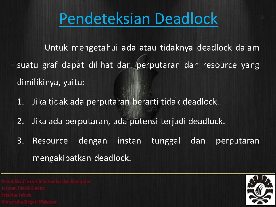 Pendeteksian Deadlock