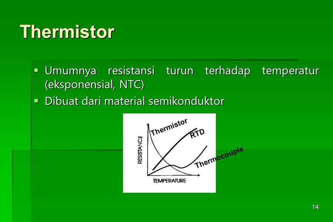 Thermistor Umumnya resistansi turun terhadap temperatur (eksponensial, NTC) Dibuat dari material semikonduktor.