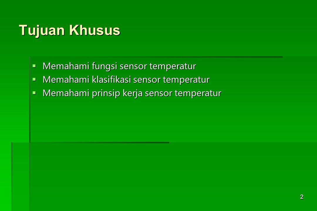 Tujuan Khusus Memahami fungsi sensor temperatur