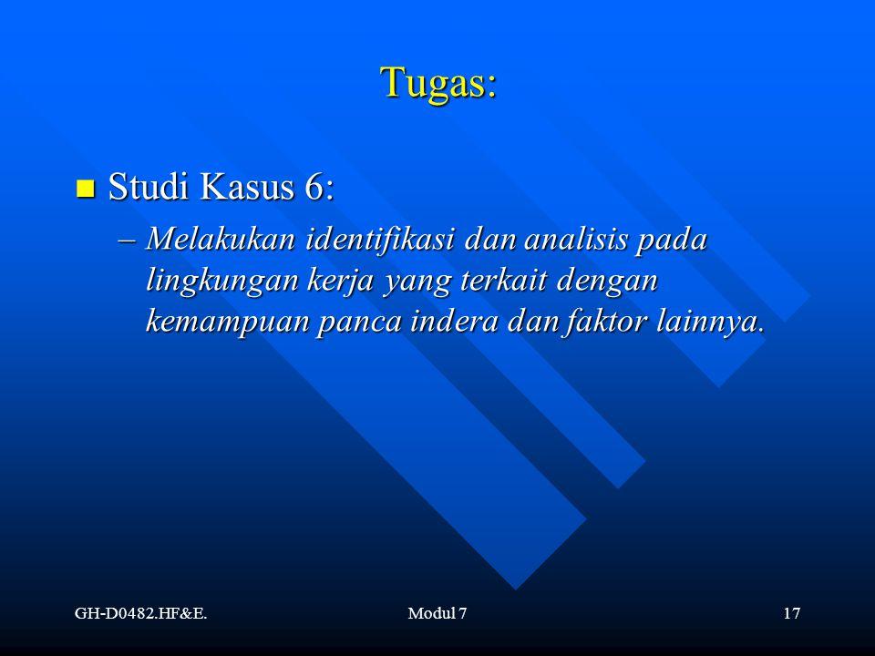 Tugas: Studi Kasus 6: Melakukan identifikasi dan analisis pada lingkungan kerja yang terkait dengan kemampuan panca indera dan faktor lainnya.
