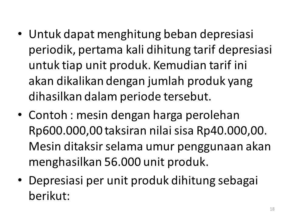 Untuk dapat menghitung beban depresiasi periodik, pertama kali dihitung tarif depresiasi untuk tiap unit produk. Kemudian tarif ini akan dikalikan dengan jumlah produk yang dihasilkan dalam periode tersebut.