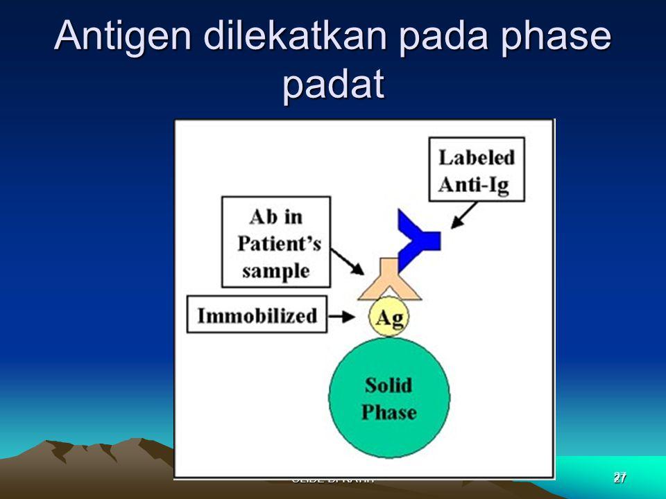 Antigen dilekatkan pada phase padat