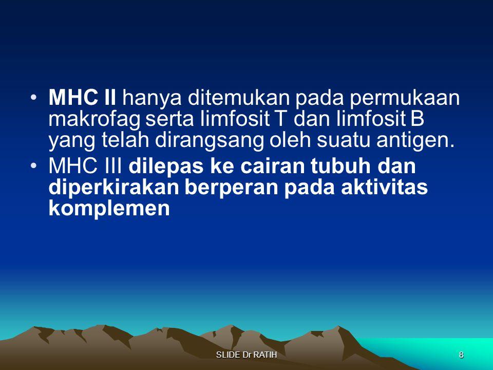 MHC II hanya ditemukan pada permukaan makrofag serta limfosit T dan limfosit B yang telah dirangsang oleh suatu antigen.