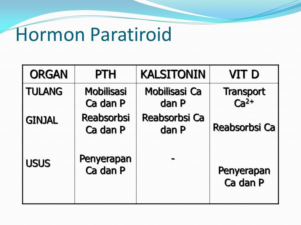 Hormon Paratiroid ORGAN PTH KALSITONIN VIT D TULANG GINJAL USUS