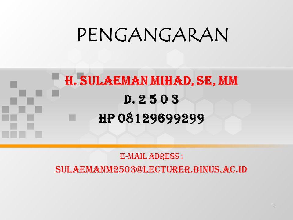 PENGANGARAN H. SULAEMAN MIHAD, SE, MM D. 2 5 0 3 HP 08129699299