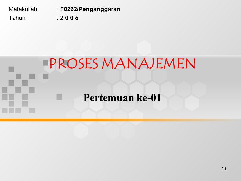 PROSES MANAJEMEN Pertemuan ke-01