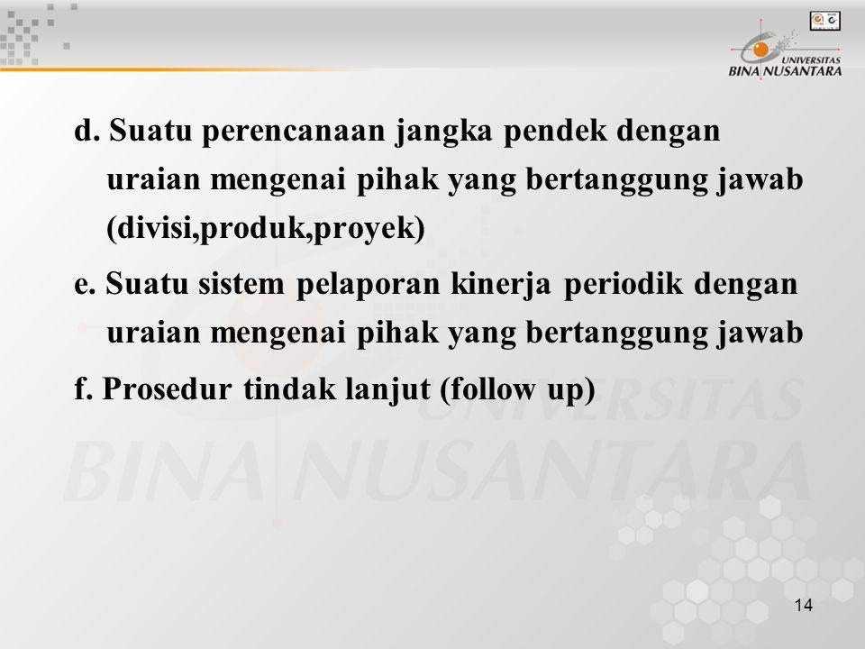 d. Suatu perencanaan jangka pendek dengan uraian mengenai pihak yang bertanggung jawab (divisi,produk,proyek)