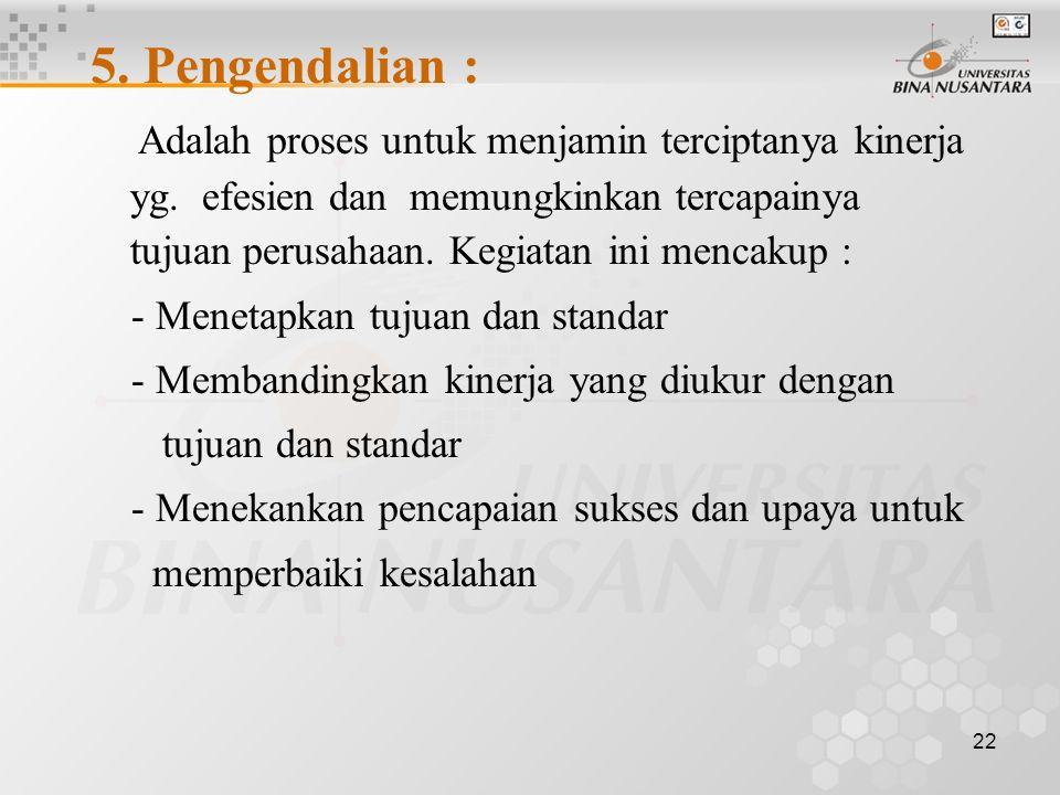 5. Pengendalian :