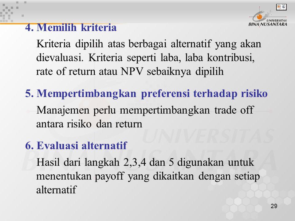 4. Memilih kriteria