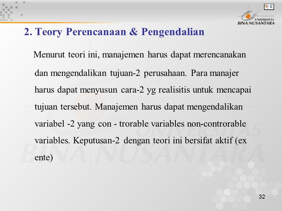 2. Teory Perencanaan & Pengendalian