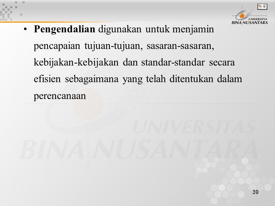 Pengendalian digunakan untuk menjamin pencapaian tujuan-tujuan, sasaran-sasaran, kebijakan-kebijakan dan standar-standar secara efisien sebagaimana yang telah ditentukan dalam perencanaan
