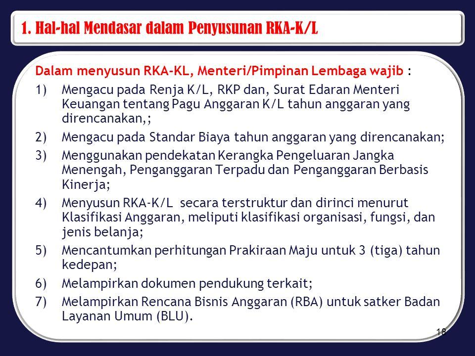 1. Hal-hal Mendasar dalam Penyusunan RKA-K/L