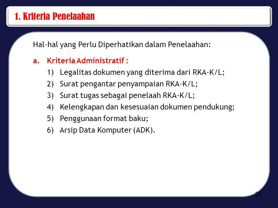 1. Kriteria Penelaahan Hal-hal yang Perlu Diperhatikan dalam Penelaahan: Kriteria Administratif : Legalitas dokumen yang diterima dari RKA-K/L;