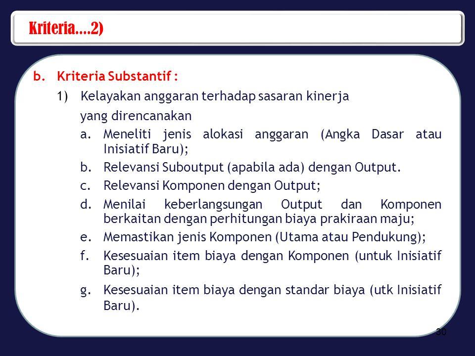 Kriteria....2) Kriteria Substantif :