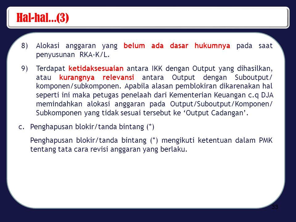 Hal-hal...(3) Alokasi anggaran yang belum ada dasar hukumnya pada saat penyusunan RKA-K/L.