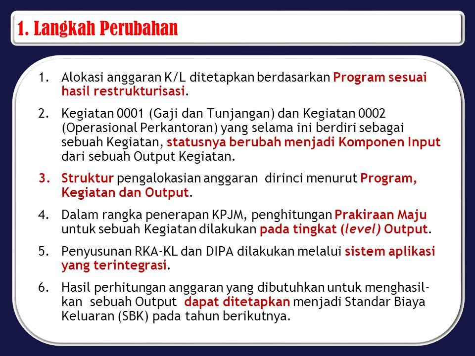 1. Langkah Perubahan Alokasi anggaran K/L ditetapkan berdasarkan Program sesuai hasil restrukturisasi.