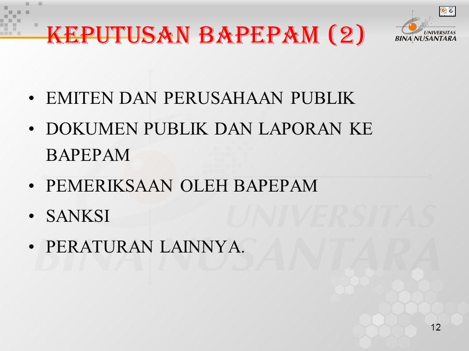 KEPUTUSAN BAPEPAM (2) EMITEN DAN PERUSAHAAN PUBLIK