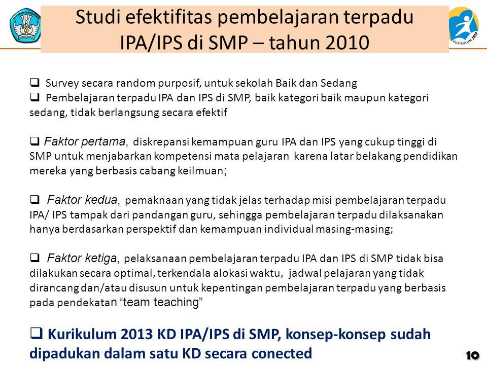 Studi efektifitas pembelajaran terpadu IPA/IPS di SMP – tahun 2010