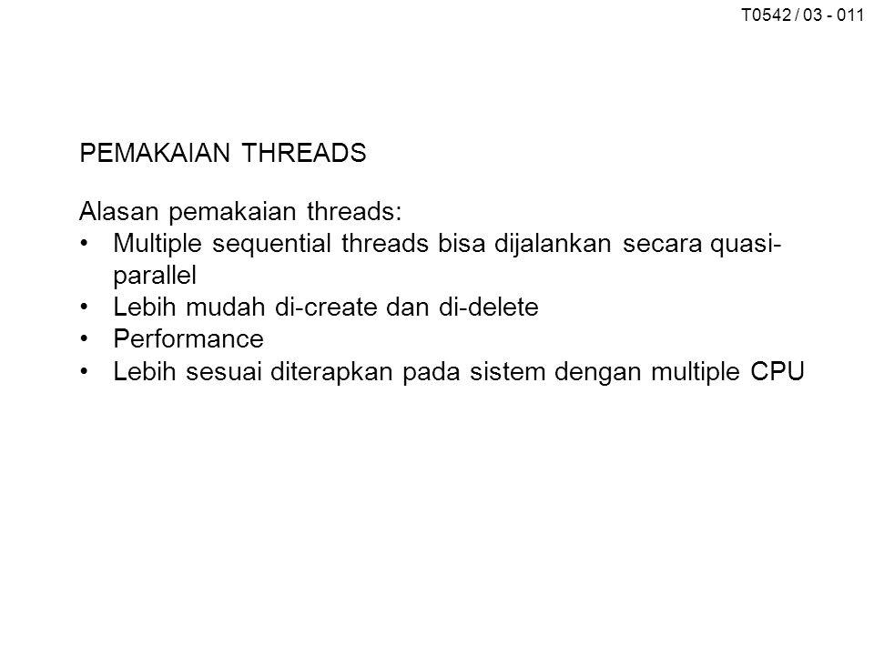 PEMAKAIAN THREADS Alasan pemakaian threads: Multiple sequential threads bisa dijalankan secara quasi-parallel.