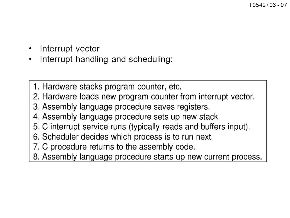 Interrupt vector Interrupt handling and scheduling: