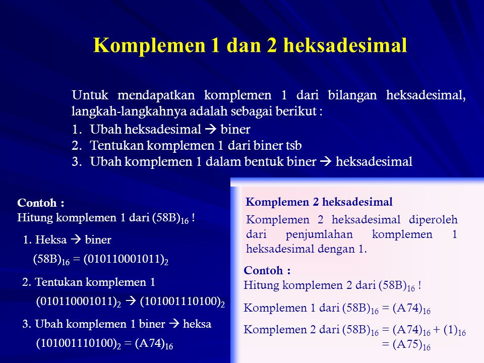 Komplemen 1 dan 2 heksadesimal