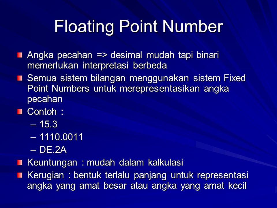 Floating Point Number Angka pecahan => desimal mudah tapi binari memerlukan interpretasi berbeda.