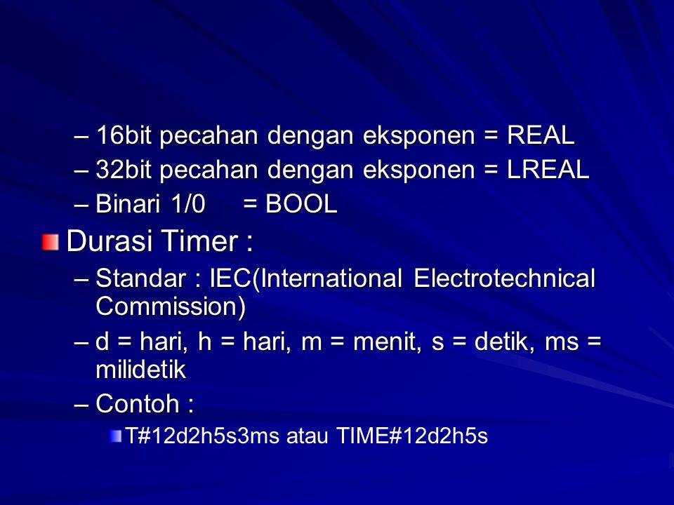 Durasi Timer : 16bit pecahan dengan eksponen = REAL