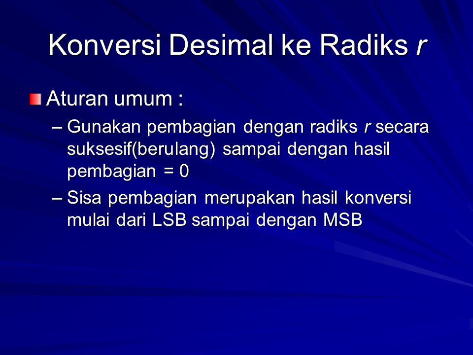 Konversi Desimal ke Radiks r