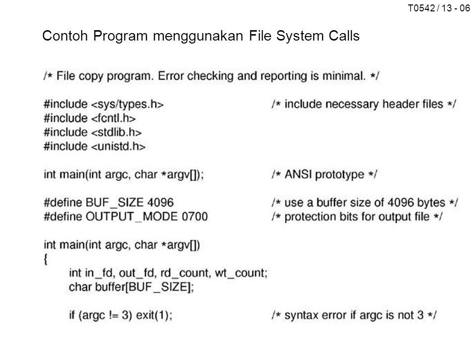 Contoh Program menggunakan File System Calls