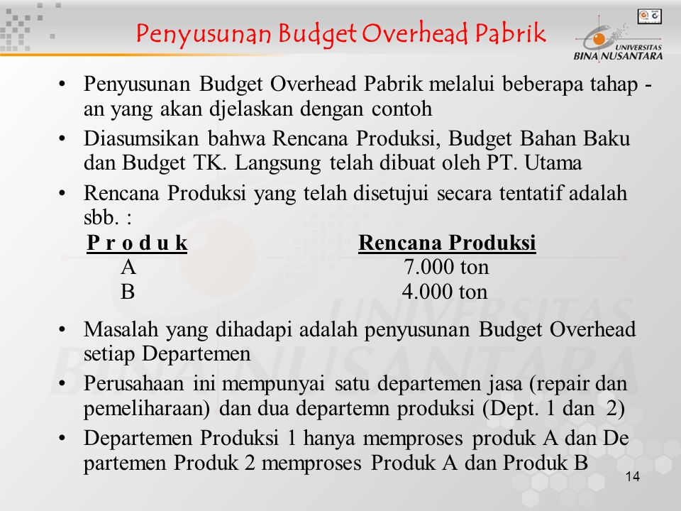 Penyusunan Budget Overhead Pabrik