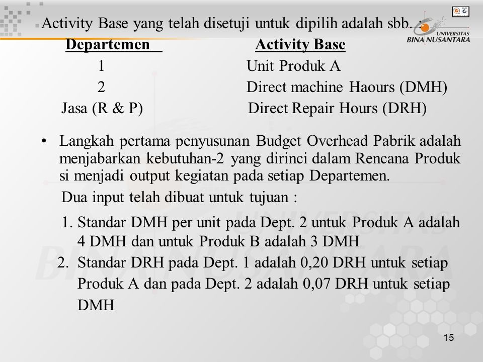 Activity Base yang telah disetuji untuk dipilih adalah sbb. :