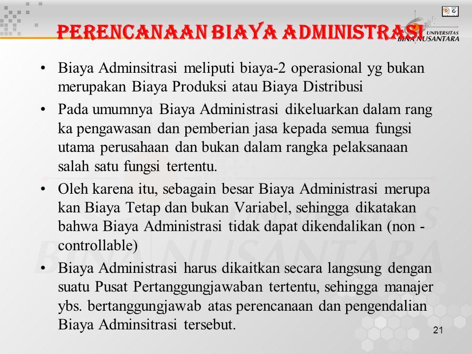 Perencanaan Biaya Administrasi