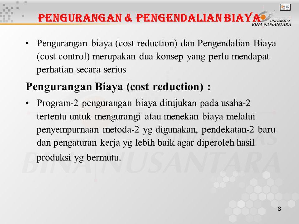 Pengurangan & Pengendalian Biaya