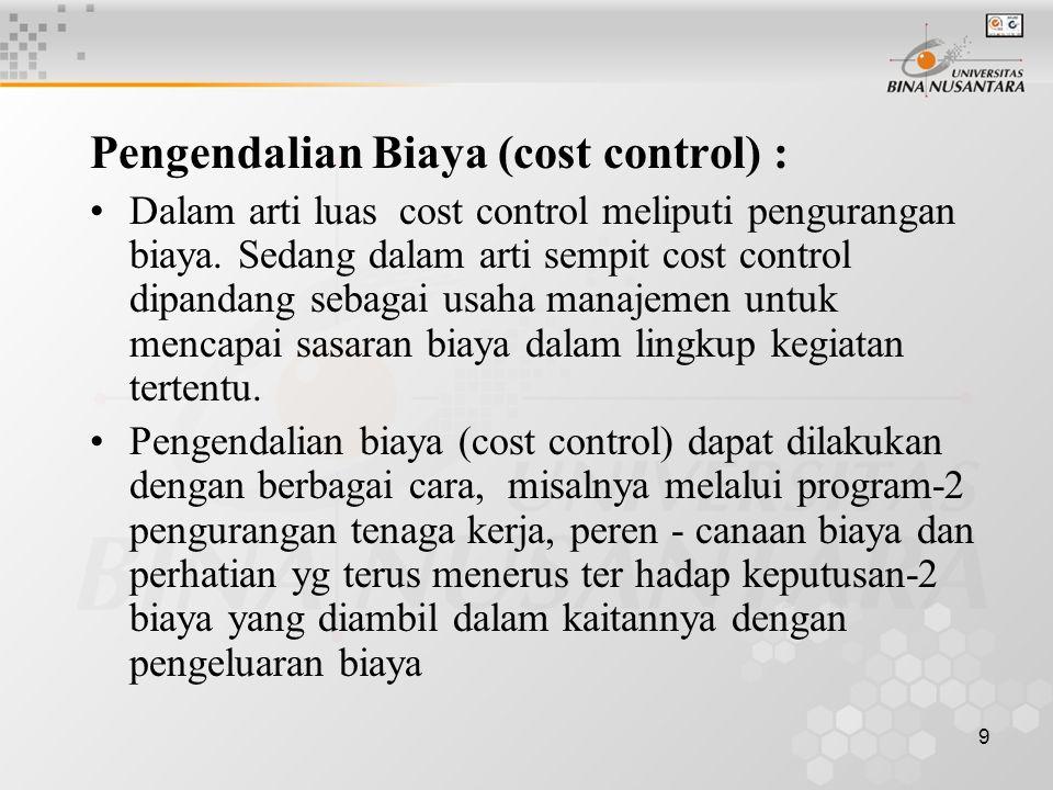 Pengendalian Biaya (cost control) :