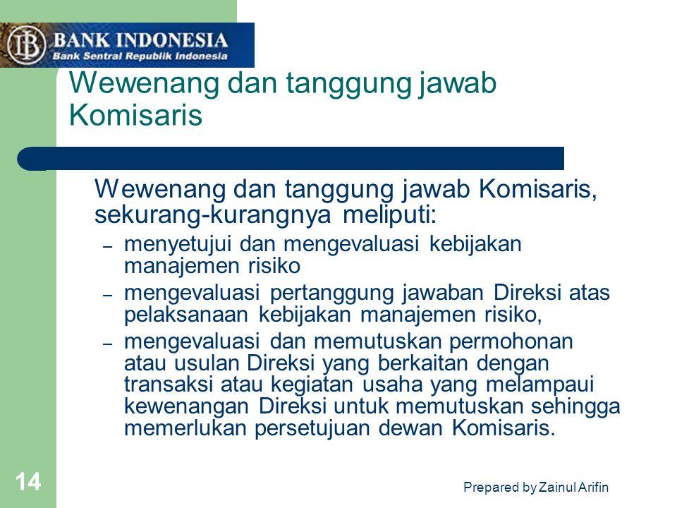 Wewenang dan tanggung jawab Komisaris