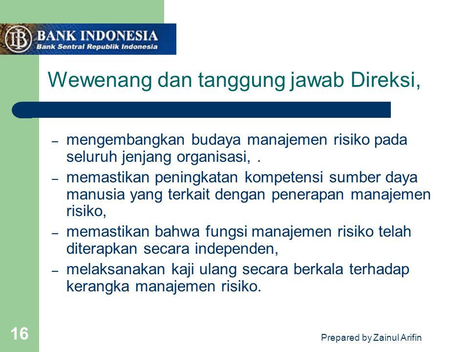 Wewenang dan tanggung jawab Direksi,