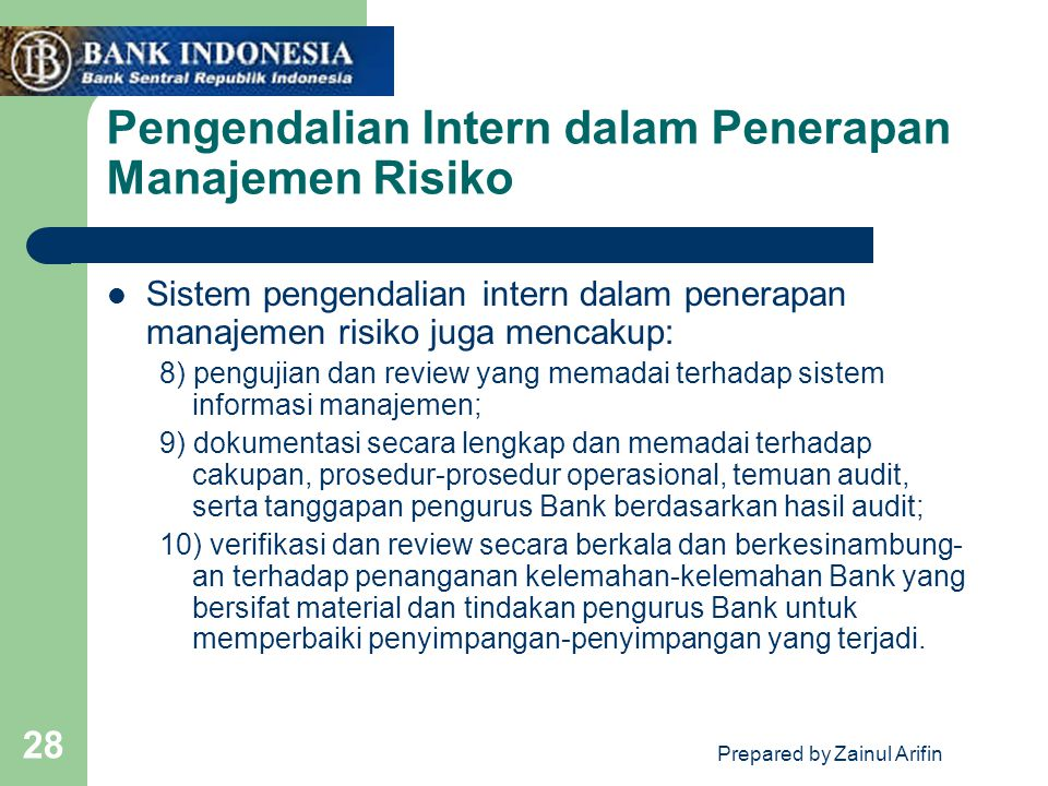 Pengendalian Intern dalam Penerapan Manajemen Risiko