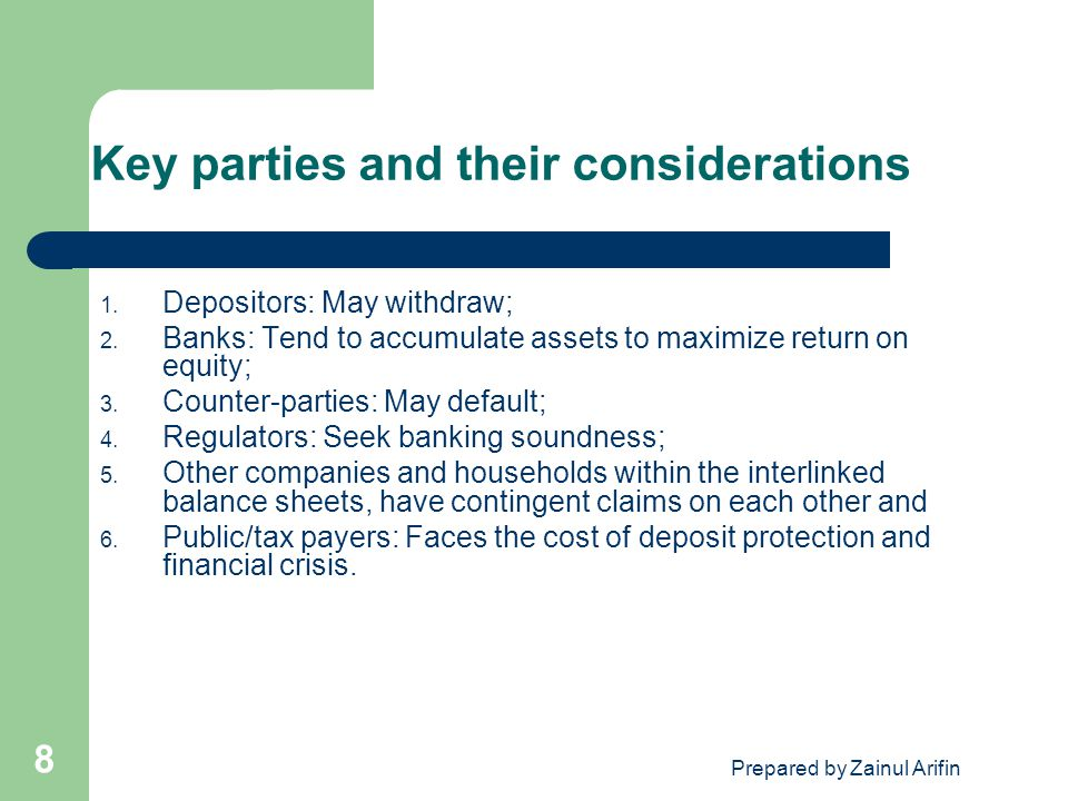 Key parties and their considerations