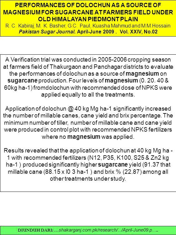 Pakistan Sugar Journal. April-June 2009 . Vol. XXIV, No.02