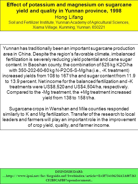 Effect of potassium and magnesium on sugarcane yield and quality in Yunnan province, 1998