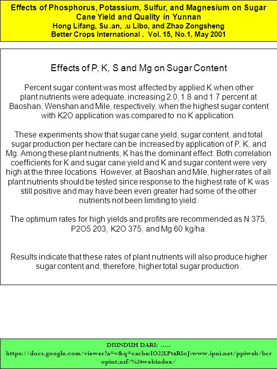 Effects of P, K, S and Mg on Sugar Content