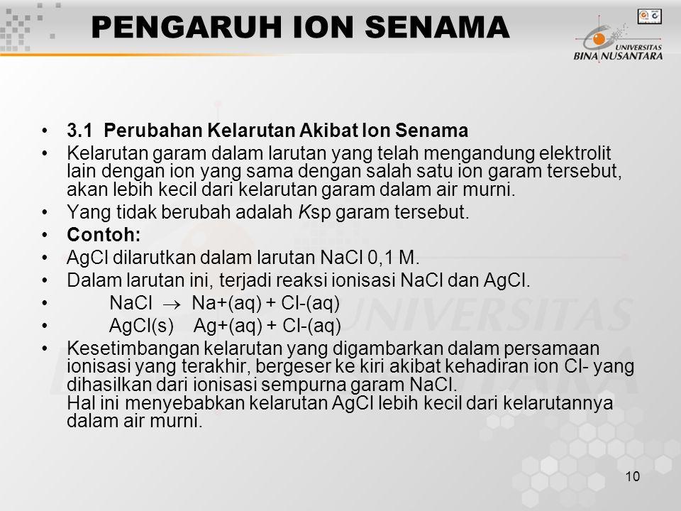 PENGARUH ION SENAMA 3.1 Perubahan Kelarutan Akibat Ion Senama